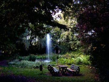 Das Bild zeigt einen Ausschnitt von dem Dorfpark in Liesenich. Umgeben von Bäumen erkennt man einen kleinen Teich mit einem Springbrunnen, vor dem eine Bank mit einem Tisch steht.